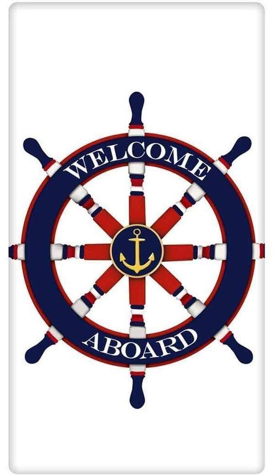 Welcome Aboard Nautical Ship's Wheel 100% Cotton Flour ...