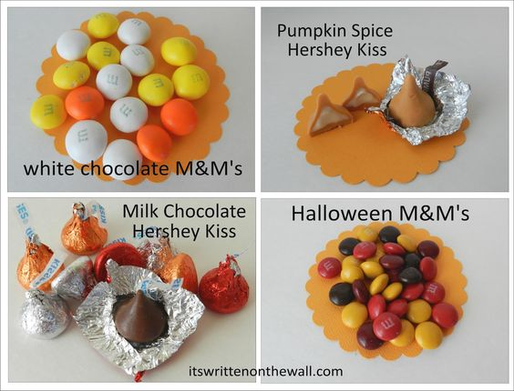 Fall M's, Fall Hershey Candy Kisses, Pumpkin Spice Hershey Kiss and White Chocolate M's   Perfect Halloween Treats, Parties and trick or treat