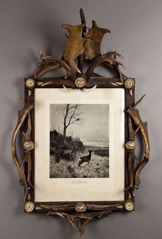 Carved Wood Wall Picture Frame Decorated With Antlers And