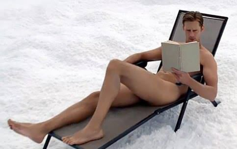 Eric from True Blood. tanning nude atop a snowy mountain in Sweden. This part of the episode went from me grinning ear to ear - to me in total shock. Good lord he better not be dead!