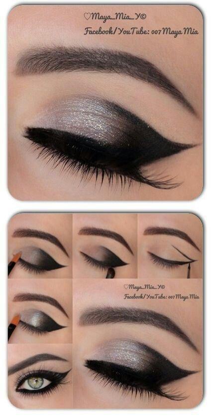 Maquillaje con vestido negro y plateado