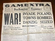 SEPT. 1, 1939 SAN FRANCISCO NEWSPAPER: WWII BEGINS AS GERMANY ...