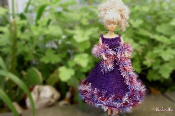 Puppenkleidung - Abendkleid mit weitem Rock für Barbie ** violett - ein…