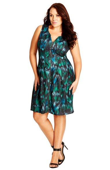 City Chic Print Zip Front Fit & Flare Dress (Plus Size) available at #Nordstrom