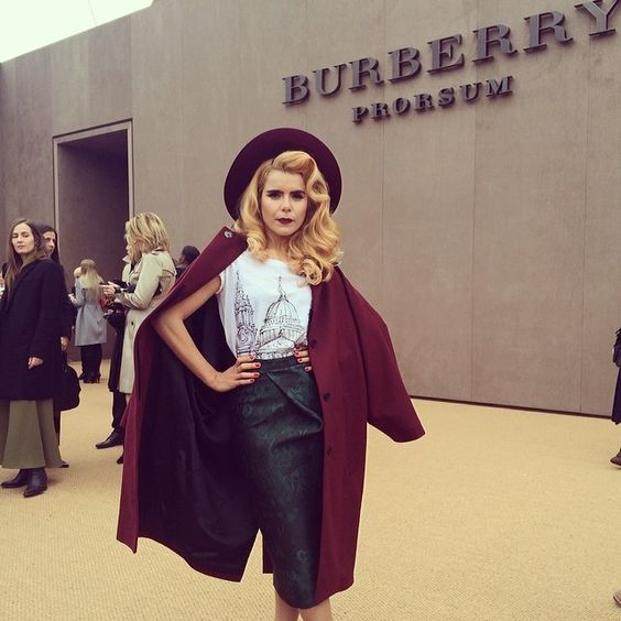 British musician Paloma Faith wearing #Burberry Prorsum on the A/W14 red carpet #LFW