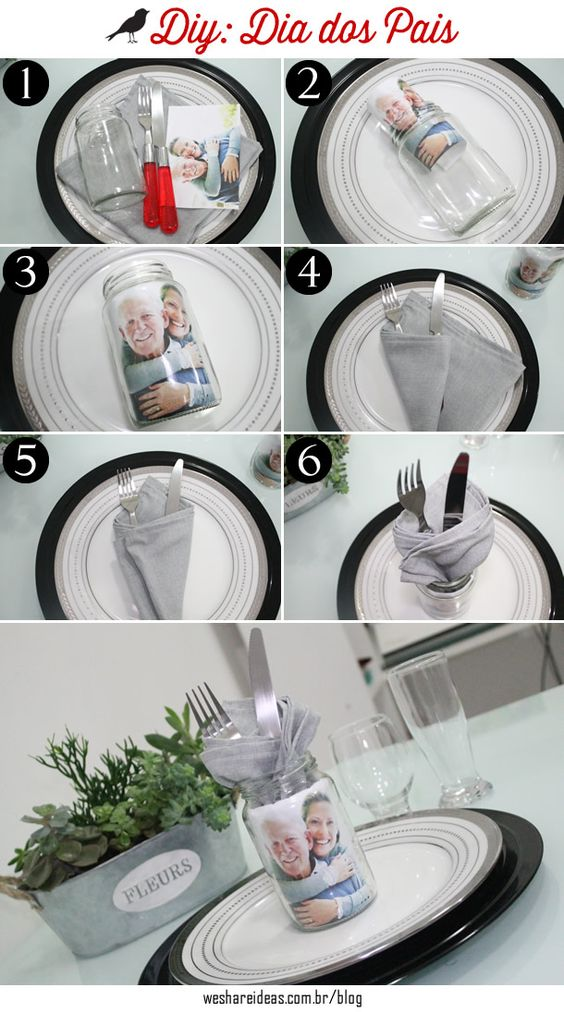 mesa posta para dia dos pais com diy feito de pote de vidro com foto.