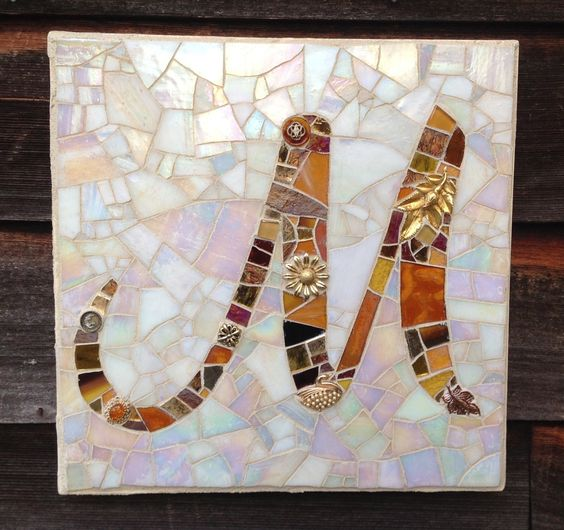 M monogram mosaic plaque. Stain glass: