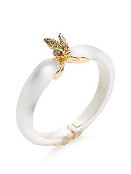Iridescent Desert Jasmine Bee Hinged Bracelet from Alexis Bittar: Lucite on Gilt