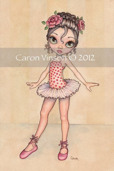 Original Watercolor Painting Little Ballerina by Caron Vinson. $45.00, via Etsy.