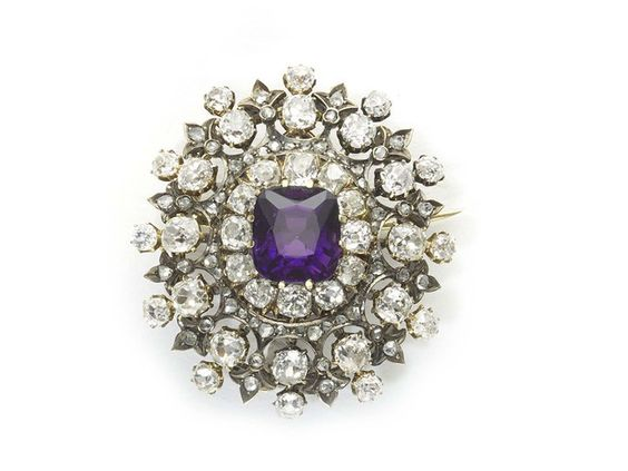 Antique Diamond & Amethyst Cluster Brooch - Moira Fine Jewellery - Moira Fine Jewellery