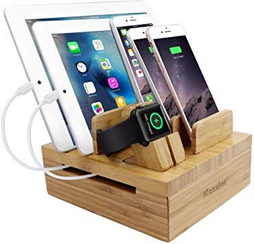 iCozzier Bamboo Soporte para teléfono con tableta extraíble de 5 ranuras Organizador de escritorio cables Multi-dispositivos Estación de acoplamiento: Amazon.es: Electrónica