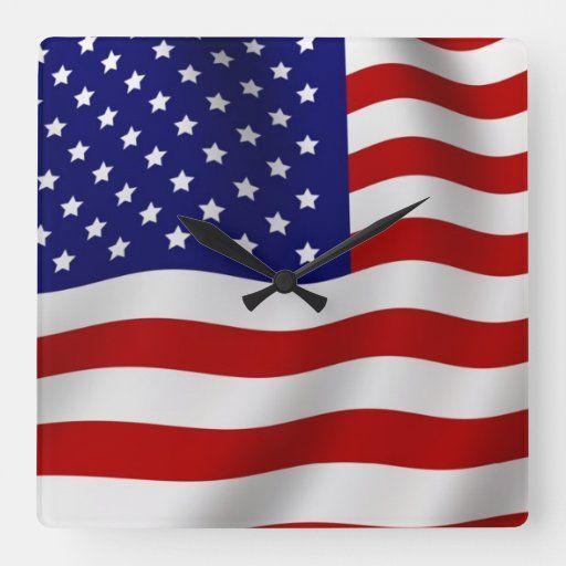 American Flag Square Wall Clock Zazzle Com In 2020 Square Wall Clock Wall Clock Clock