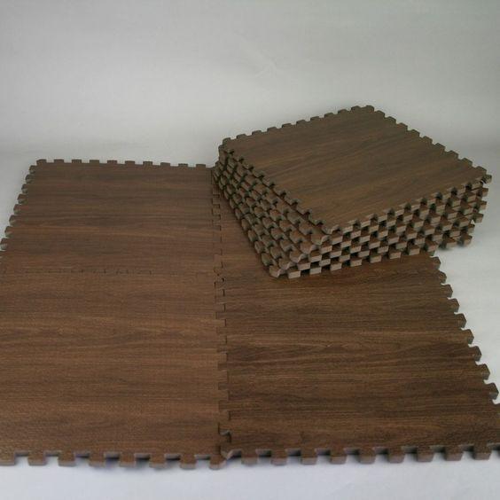 9pcs Square Interlock Foam Gym Floor Puzzle Kids Play Mat Brown 11 8 11 8