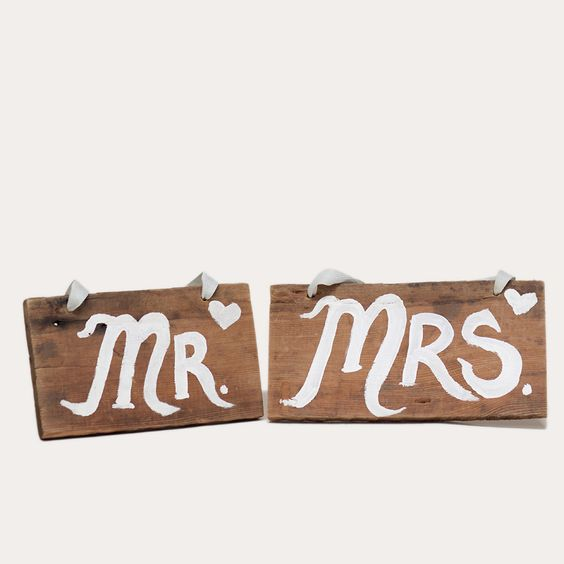 Mr  Mrs sign: Hand painted Mr. and Mrs. sign on rustic reclaimed wood with ribbon or twine for  hanging.