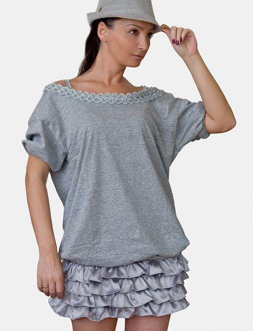 Mode DIY: Graues T-Shirt mit Borte und Puffärmel aufpeppen - fertig gepimpt