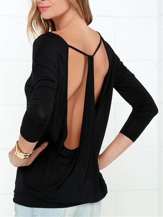 Black Long Sleeve Backless Drape T-shirt