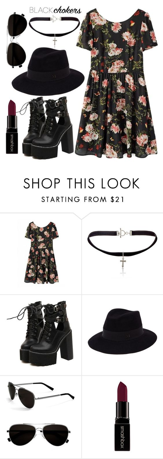 """""""90's grunge look"""" by anchilly23 ❤ liked on Polyvore featuring Yves Saint Laurent, WithChic, Maison Michel, Calvin Klein and Smashbox"""
