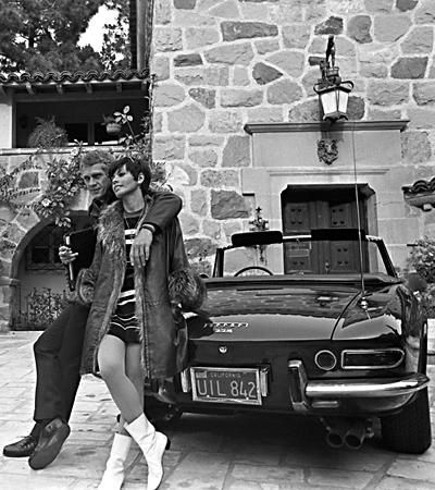 neileadams and her husband stevemcqueen with their ferrari 330 gt spyder steve mac queen. Black Bedroom Furniture Sets. Home Design Ideas