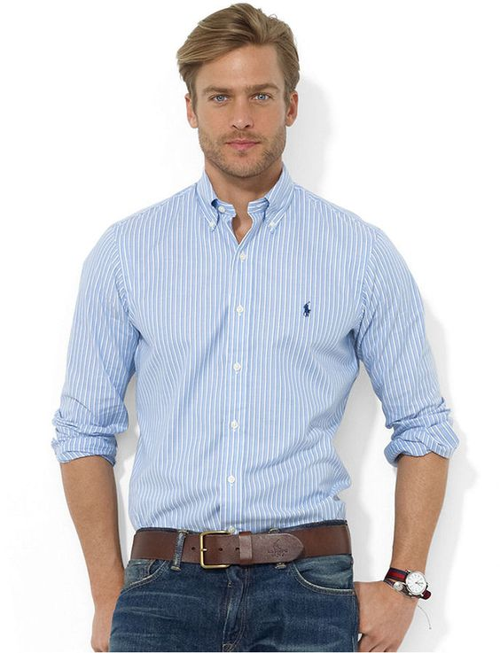 Shirt classic fit long sleeve striped oxford shirt for Blue dress shirt outfit