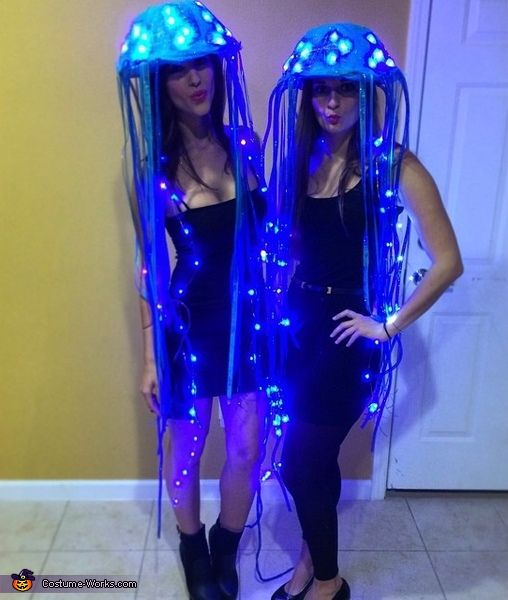 Desiree: It seemed a little ambitious at first to create LED-lit jellyfish costumes that would be believable and funny, yet cute. But I am so pleased with how they turned out...