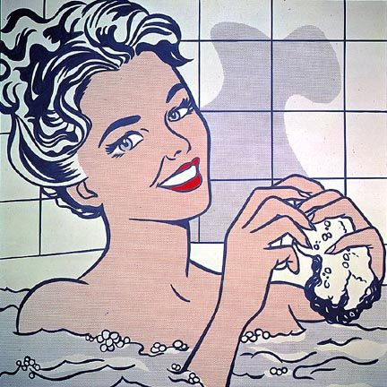 Roy Lichtenstein - Woman in bath, 1963.  Pop art (Portrait)  Magna on canvas, 172.7 cm x 172.7 cm.  The Thyssen-Bornemisza Collection, Madrid, Spain.    I remember accidentally finding this paining in the museum. :)