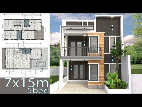 House Plans Idea 11 5x8 With 3 Bedroomsthe House Has Building Size M X M 11 50 X 8 00land In 2020 Modern House Floor Plans Simple House Design Duplex House Design