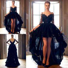 Schwarz Halbarm Hochzeitskleid Abendkleid Brautkleid Partei Ballkleid Größe32-46
