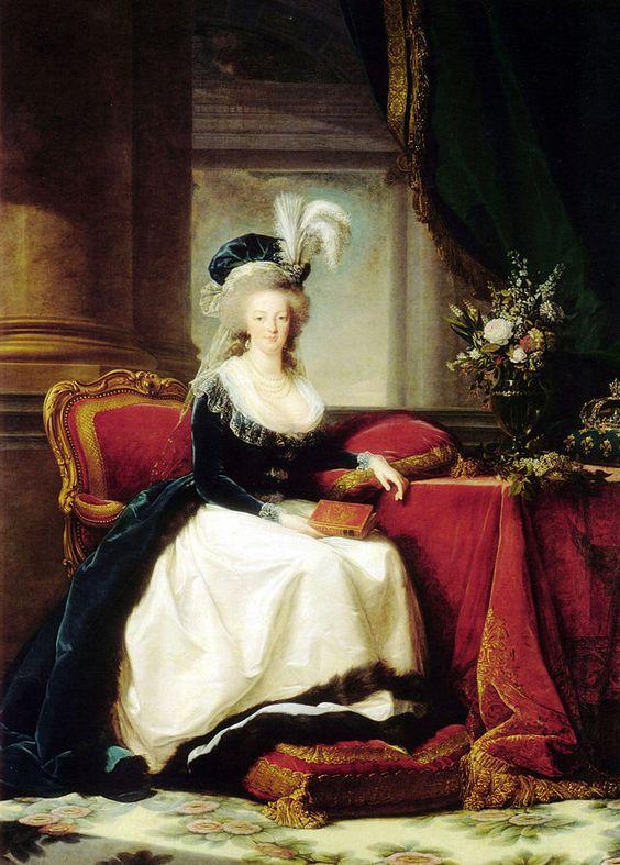"""""""Marie Antoinette com um Livro"""". (Tela de 1788). Último 'Retrato' Oficial da Rainha, pintado por Élisabeth Vigée. (by Élisabeth-Louise Vigée-Lebrun)."""