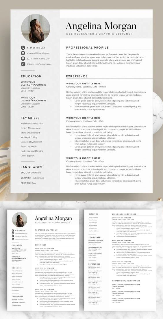 Resume Template With Headshot Photo Cover Letter 1 Page Word Resume Design Diy Cv Template Minimalist Resume Template Resume Examples Resume Design