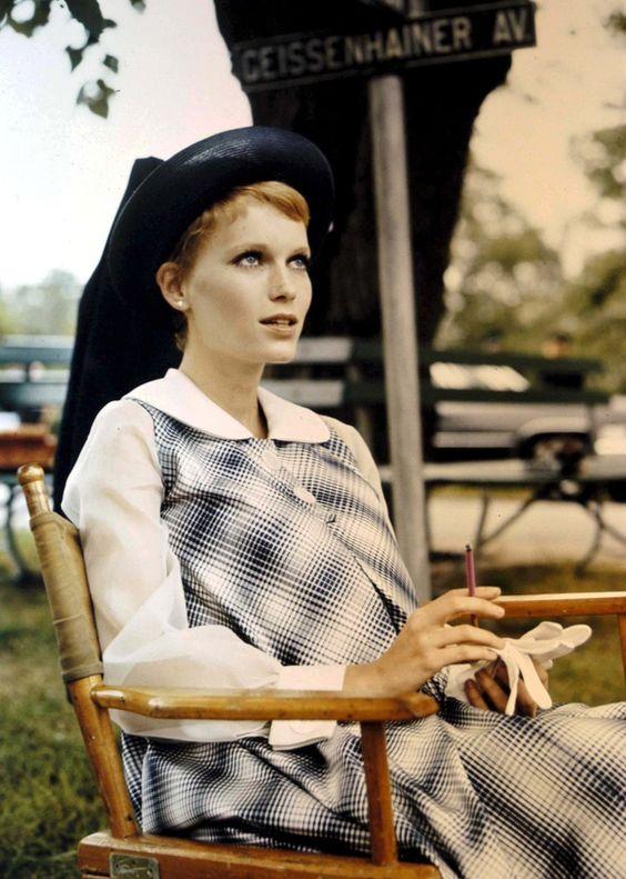 Mia Farrow on the set of 'Rosemary's baby'