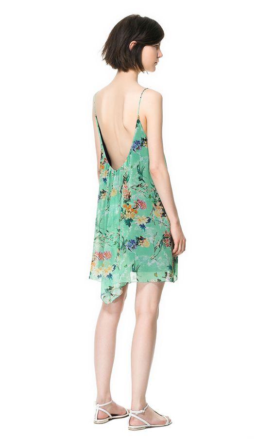 #Zara japanese print green dress