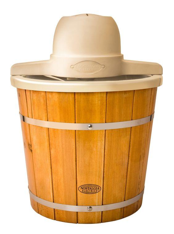 Amazon.com: Nostalgia Electrics ICMP400WD Old Fashioned Ice Cream Maker, 4-Quart, Brown: Kitchen & Dining