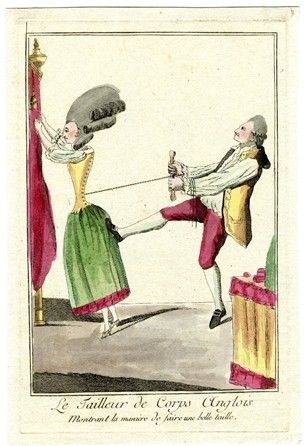 'Le tailleur de corps anglois montrant la manière de faire une belle taille', 1770-1779. Anonymous French satire showing a tailor pulling tight the corset of an Englishwoman.
