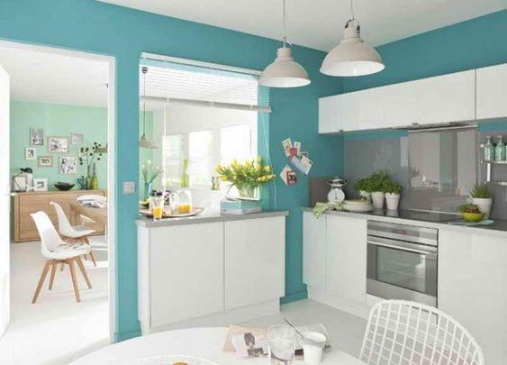 Peinture de Cuisine:Cuisine Mur Bleu Turquoise Cuisine Mur Bleu ...