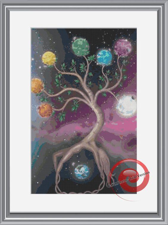 Chakras Tree Cross Stitch Pattern, Instant Download PDF