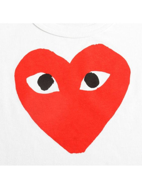 Comme Des Garcons Clothing | PLAY Kid's Red Heart Logo T Shirt White | Buy Comme Des Garcons Play Clothing Online