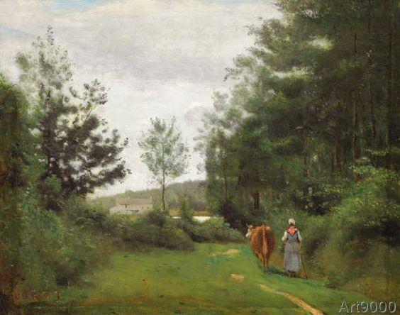 Jean-Baptiste+Camille+Corot+-+Ville+d'Avray,+Bäuerin+mit+einer+Kuh