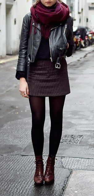 Street Style Fall, burgundy and leather outfit. Short skirt and black leather jacket. Good outfit for a rainy day in the city.: