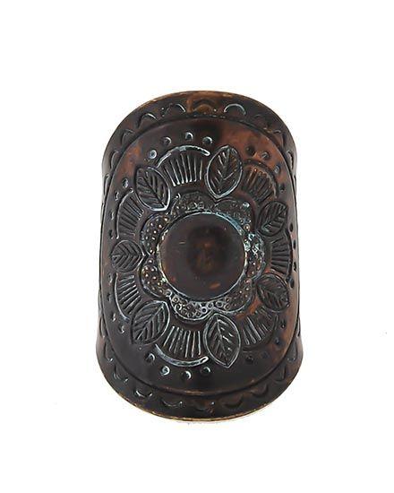 Patina / Lead&nickel Compliant / Metal / Flower & Leaf / Cuff Ring