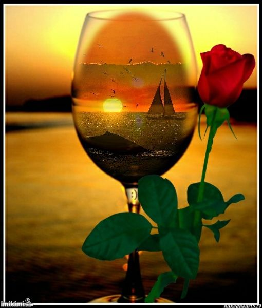 A rose, glass of wine in sunset: