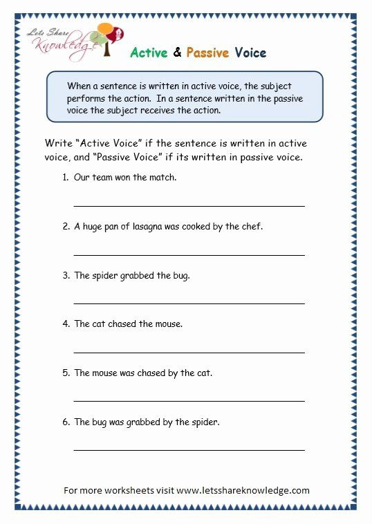 Active Passive Voice Worksheet New Passive Voice … Education Pinterest –  Chessmuseum Template Libra… Active And Passive Voice, Passive, English Grammar  Worksheets