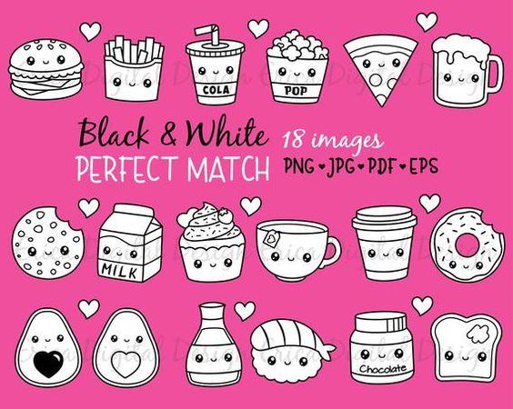 Perfect Match Kawaii Clipart Outline Black White Digital Stamp Cute Food Friendship Best Friend Love Valentine Planner Printable Stickers In 2021 Digital Stamps Printable Stickers Kawaii Clipart