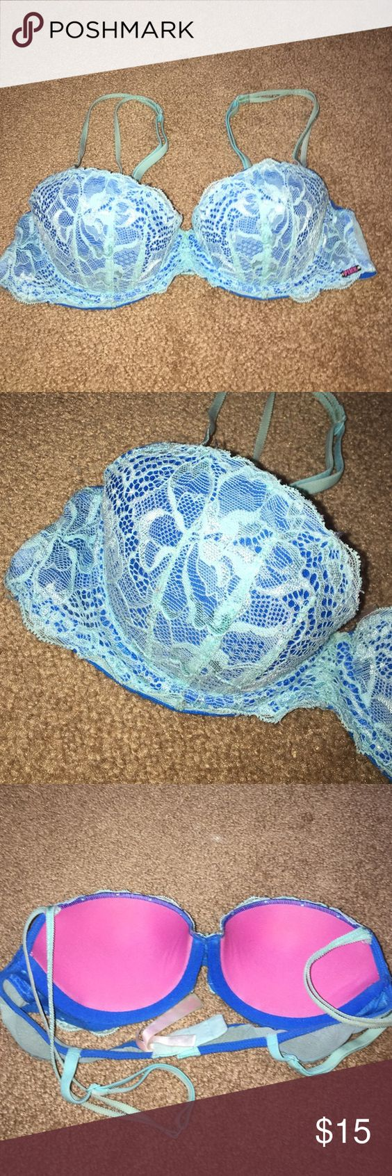 Victoria's Secret VS Pink The Date blue PushUp bra Sexy blue lacy push up bra from VS Pink in size 32A. Excellent condition and padding still in tact. Any questions feel free to ask in the comment section. Thank you! Victoria's Secret Intimates & Sleepwear Bras