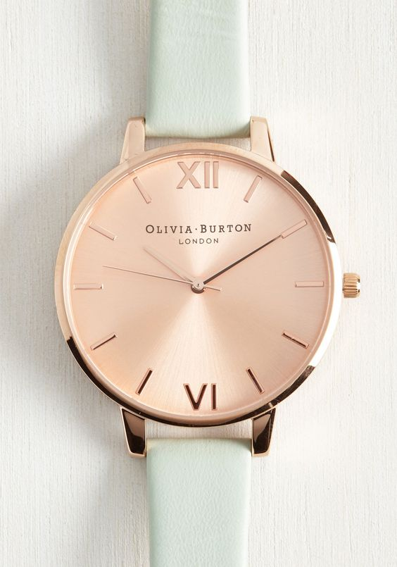 sleek rose gold and mint watch
