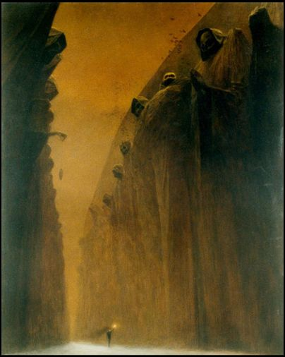 Zdzislaw  Beksinski - reminds me of never ending story, with the sphinxes.: