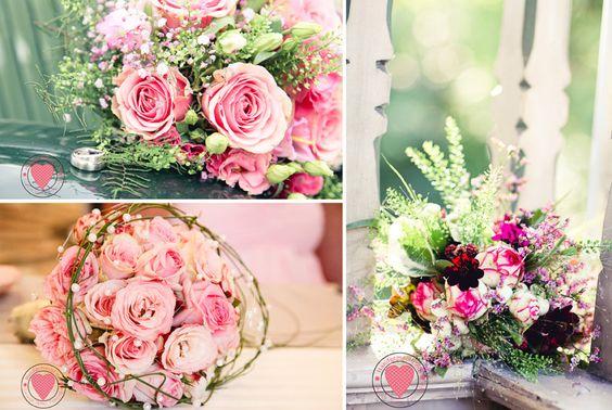 Brautstrauss Wiesenblumen pink rose