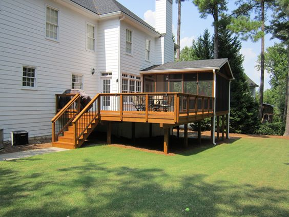 Stains back deck and outdoor living on pinterest for Large screens for porches