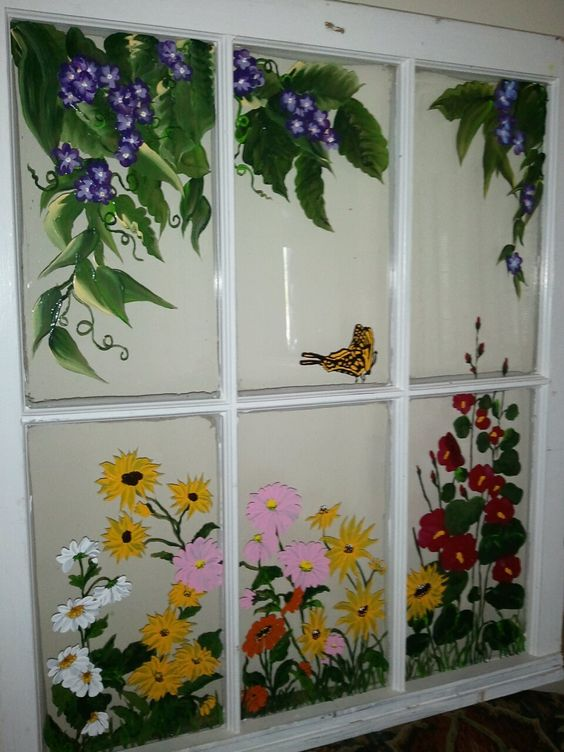My Monarch: Handpainted Vintage, Monarch, Flower Art, Vintage Windows