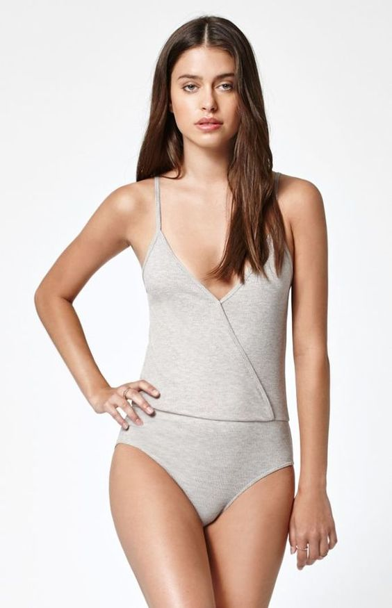 LA Hearts Surplice Ribbed Bodysuit