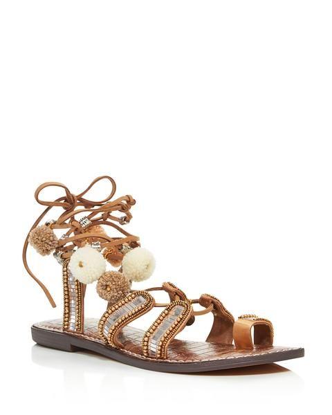 SAM EDELMAN Graciela Embellished Lace Up Sandals with Pom-Poms - 100% Exclusive